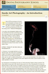 Smoke Art Photography article on DPS